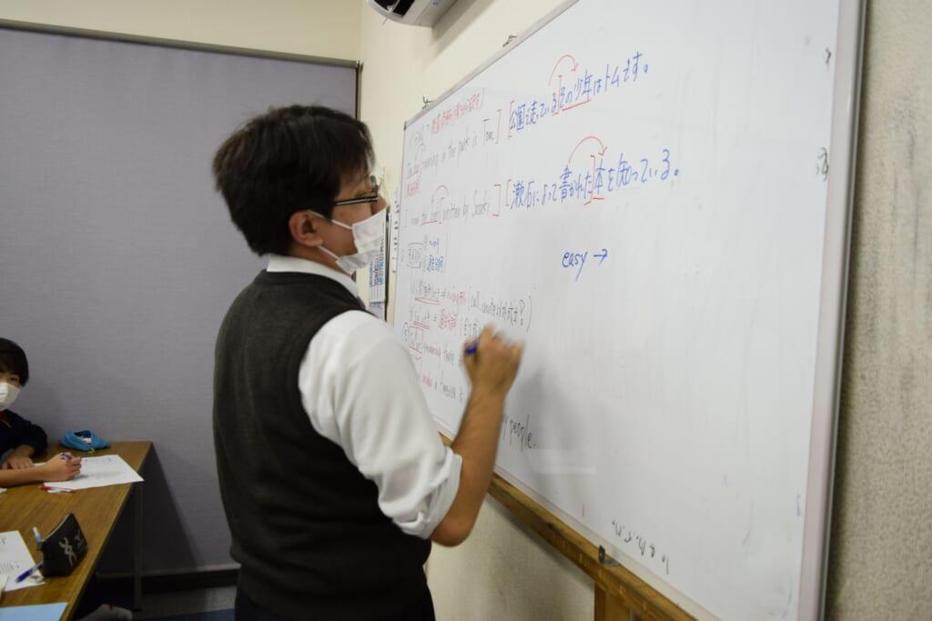 英語の授業の風景。見やすさにもこだわっています。